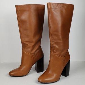 Aldo JACKSIE cognac leather block heeled boots 8.5